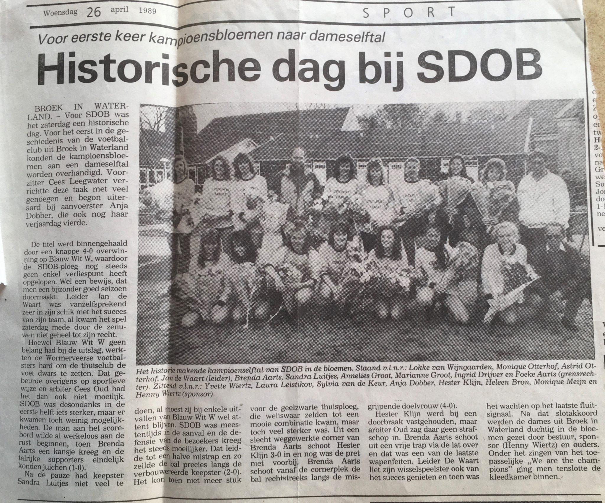 1989: SDOB Dames kampioen